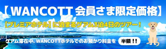 WANCOTT会員さま限定価格 グアム3泊4日ツアー